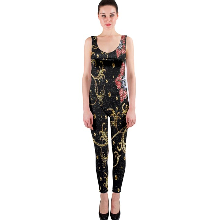 Floral Pattern Background OnePiece Catsuit