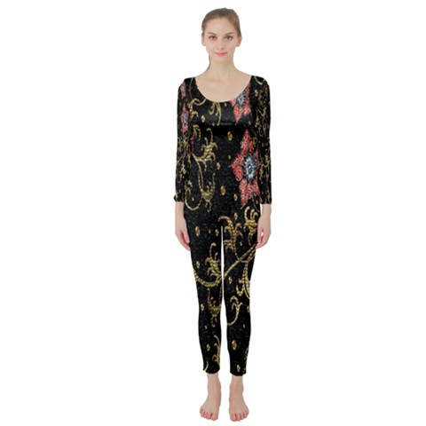 Floral Pattern Background Long Sleeve Catsuit