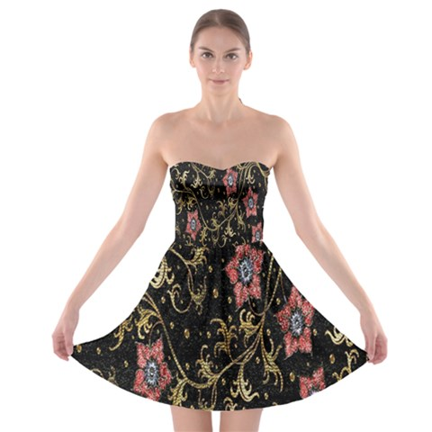 Floral Pattern Background Strapless Bra Top Dress