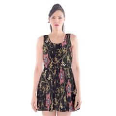 Floral Pattern Background Scoop Neck Skater Dress