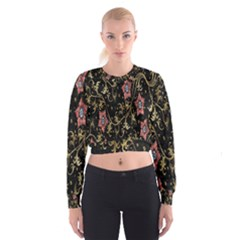 Floral Pattern Background Women s Cropped Sweatshirt