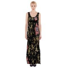Floral Pattern Background Maxi Thigh Split Dress