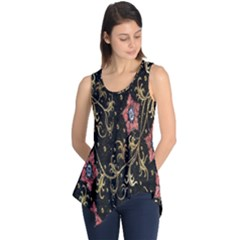Floral Pattern Background Sleeveless Tunic