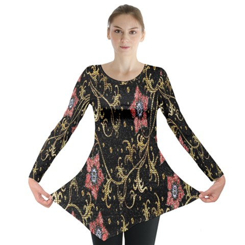 Floral Pattern Background Long Sleeve Tunic