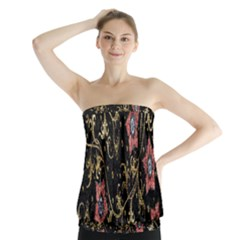 Floral Pattern Background Strapless Top