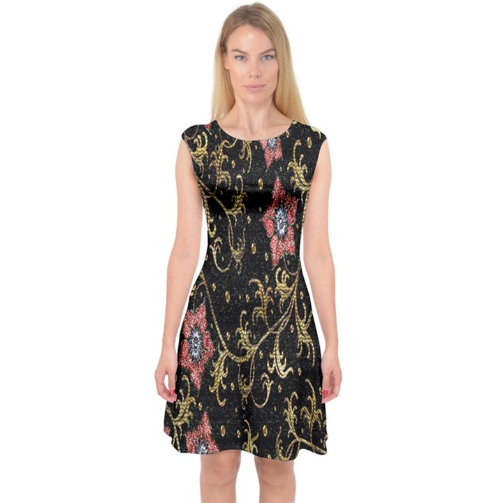 Floral Pattern Background Capsleeve Midi Dress