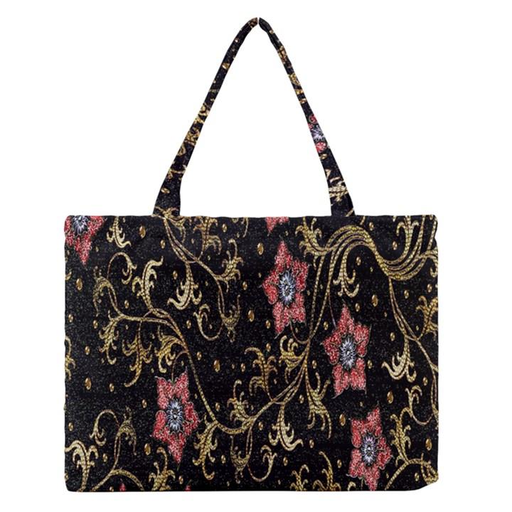 Floral Pattern Background Medium Zipper Tote Bag