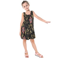 Floral Pattern Background Kids  Sleeveless Dress
