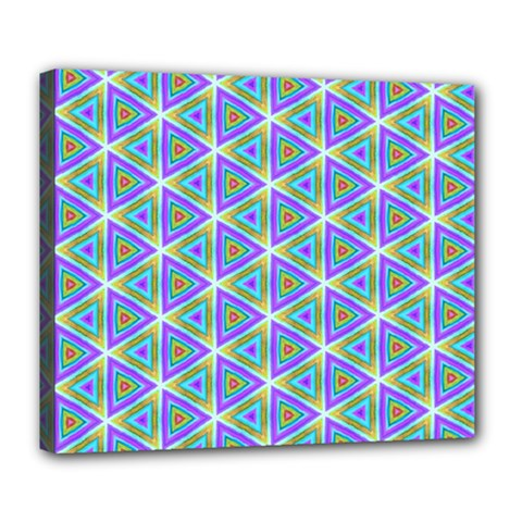 Colorful Retro Geometric Pattern Deluxe Canvas 24  x 20