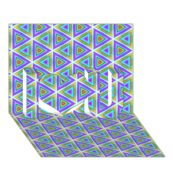 Colorful Retro Geometric Pattern I Love You 3D Greeting Card (7x5)