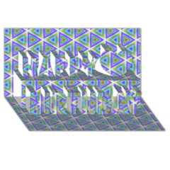 Colorful Retro Geometric Pattern Happy Birthday 3d Greeting Card (8x4)