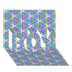 Colorful Retro Geometric Pattern Boy 3d Greeting Card (7x5)