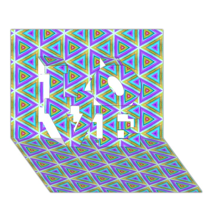 Colorful Retro Geometric Pattern LOVE 3D Greeting Card (7x5)