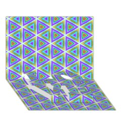 Colorful Retro Geometric Pattern LOVE Bottom 3D Greeting Card (7x5)