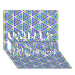 Colorful Retro Geometric Pattern YOU ARE INVITED 3D Greeting Card (7x5)