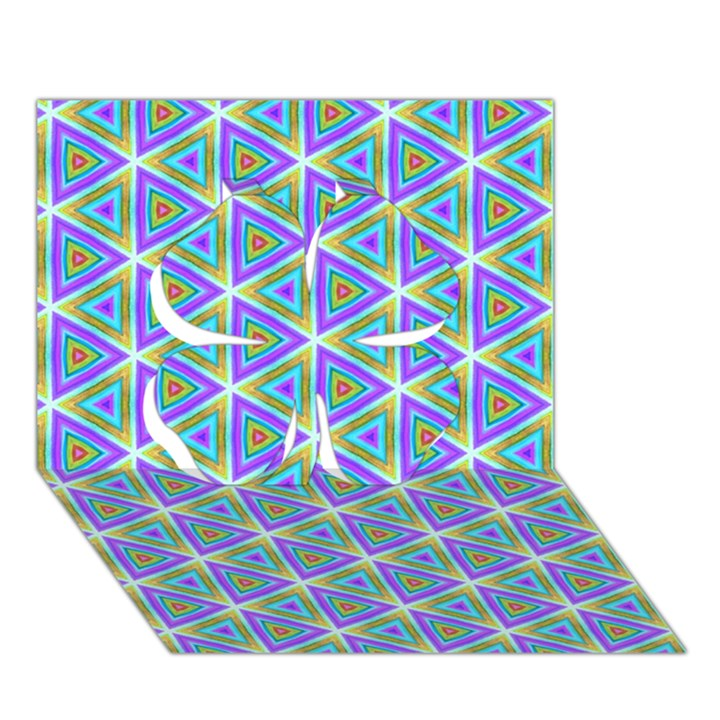 Colorful Retro Geometric Pattern Clover 3D Greeting Card (7x5)