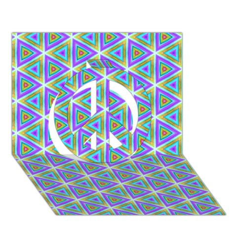 Colorful Retro Geometric Pattern Peace Sign 3D Greeting Card (7x5)