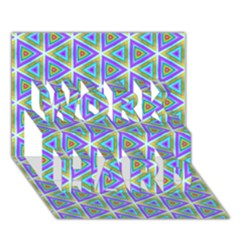 Colorful Retro Geometric Pattern WORK HARD 3D Greeting Card (7x5)
