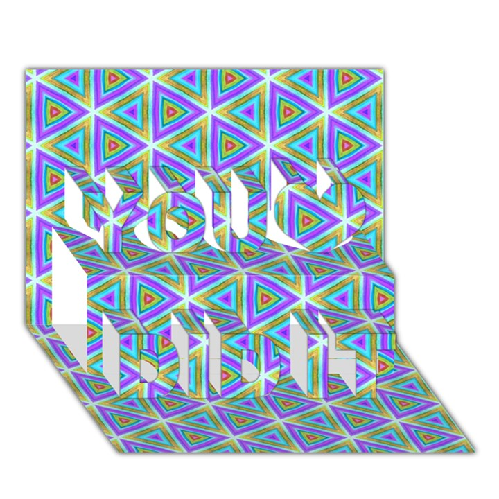 Colorful Retro Geometric Pattern You Did It 3D Greeting Card (7x5)