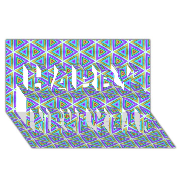 Colorful Retro Geometric Pattern Happy New Year 3D Greeting Card (8x4)