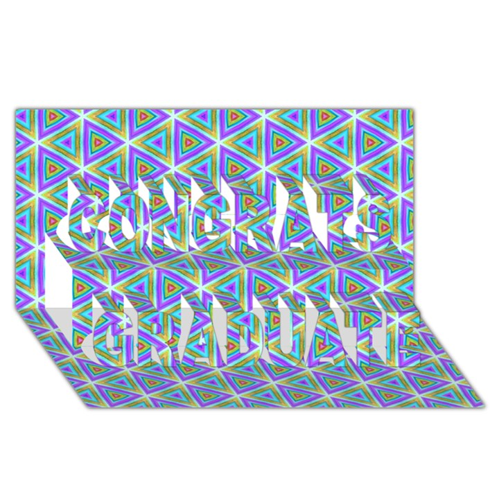Colorful Retro Geometric Pattern Congrats Graduate 3D Greeting Card (8x4)