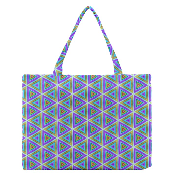 Colorful Retro Geometric Pattern Medium Zipper Tote Bag