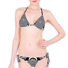 Black And White Ornamental Flower Bikini Set