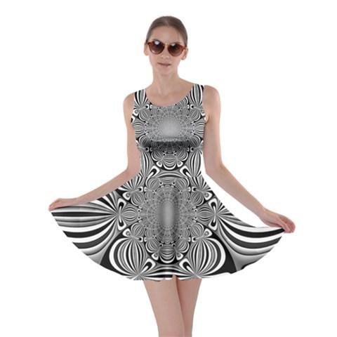 Black And White Ornamental Flower Skater Dress