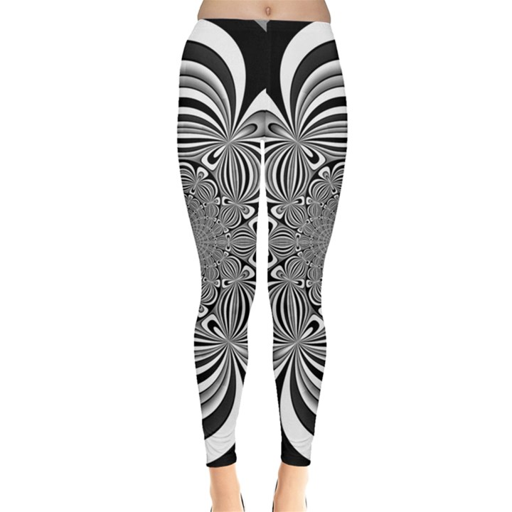 Black And White Ornamental Flower Leggings