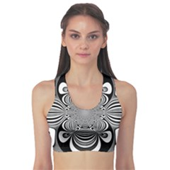 Black And White Ornamental Flower Sports Bra