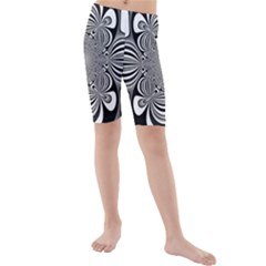 Black And White Ornamental Flower Kids  Mid Length Swim Shorts
