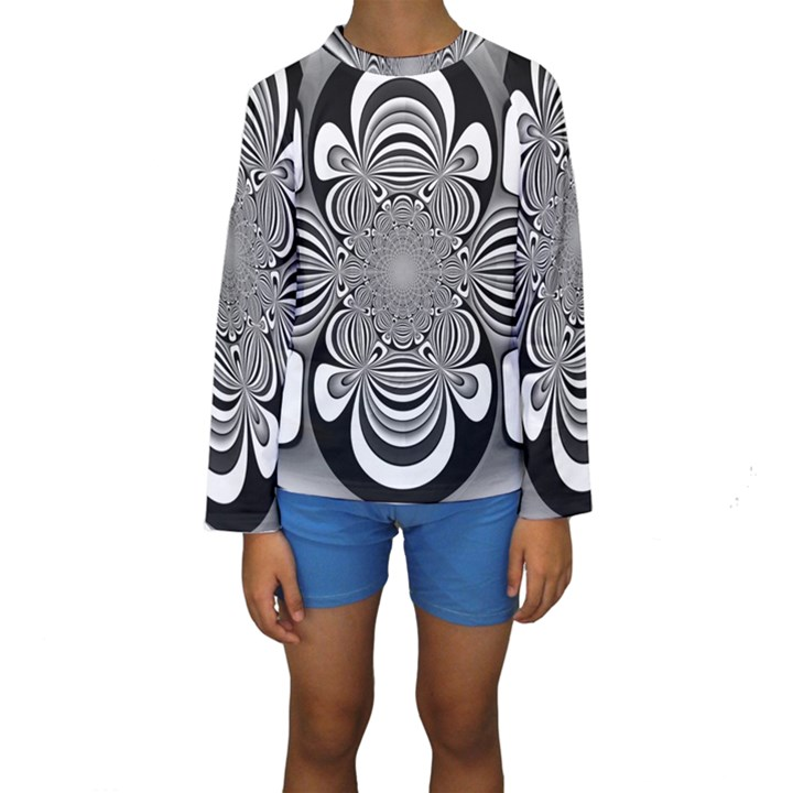 Black And White Ornamental Flower Kids  Long Sleeve Swimwear