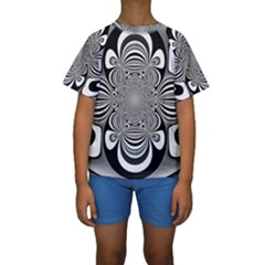 Black And White Ornamental Flower Kids  Short Sleeve Swimwear