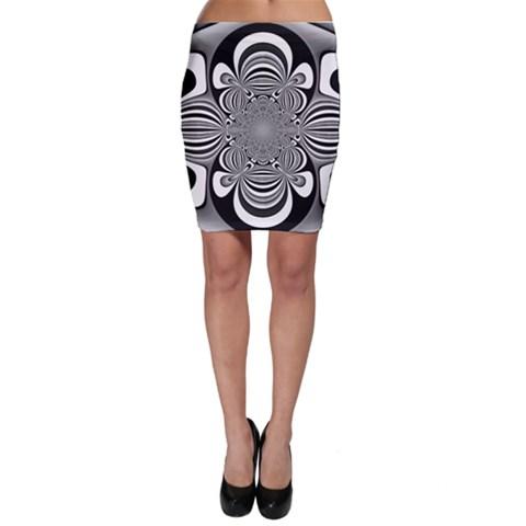 Black And White Ornamental Flower Bodycon Skirt