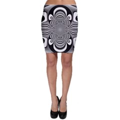Black And White Ornamental Flower Bodycon Skirt