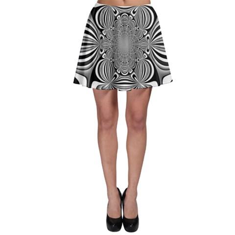 Black And White Ornamental Flower Skater Skirt