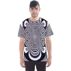 Black And White Ornamental Flower Men s Sport Mesh Tee