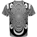 Black And White Ornamental Flower Men s Cotton Tee View1