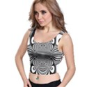 Black And White Ornamental Flower Crop Top View1