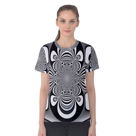 Black And White Ornamental Flower Women s Cotton Tee