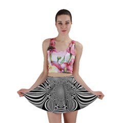 Black And White Ornamental Flower Mini Skirt