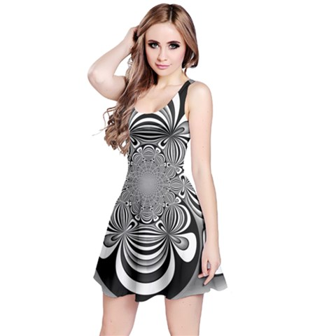 Black And White Ornamental Flower Reversible Sleeveless Dress