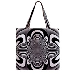 Black And White Ornamental Flower Grocery Tote Bag