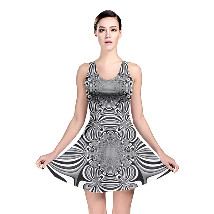 Black And White Ornamental Flower Reversible Skater Dress
