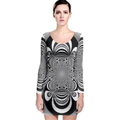 Black And White Ornamental Flower Long Sleeve Bodycon Dress