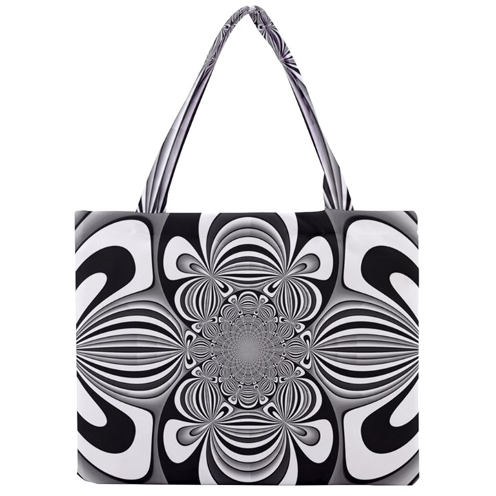 Black And White Ornamental Flower Mini Tote Bag