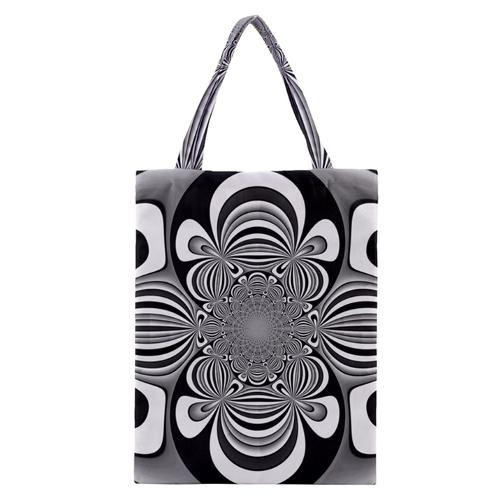 Black And White Ornamental Flower Classic Tote Bag