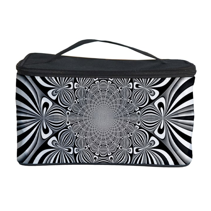 Black And White Ornamental Flower Cosmetic Storage Case