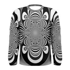 Black And White Ornamental Flower Men s Long Sleeve Tee