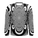 Black And White Ornamental Flower Men s Long Sleeve Tee View1